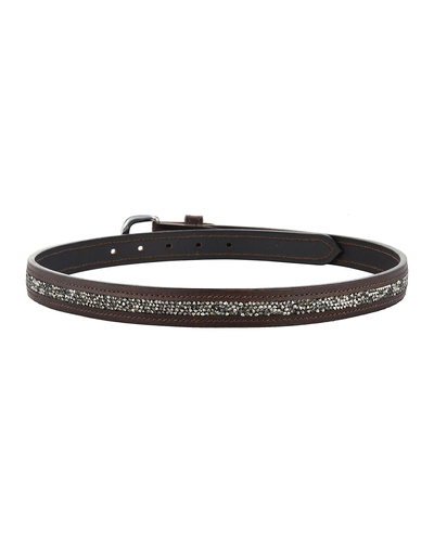 """Leather Belt Brown with Metallic color rock Stones Decoration-34""""-2"""