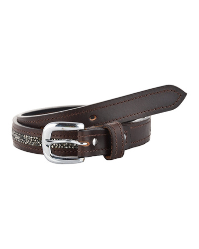 Leather Belt Brown with Metallic color rock Stones Decoration-AMA-B519-Brown-36