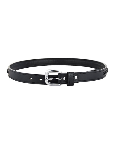 """Leather Belt Black with Leather Cord Hand Braiding Decoration-42""""-1"""