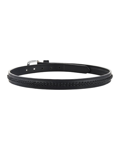 """Leather Belt Black with Leather Cord Hand Braiding Decoration-42""""-2"""