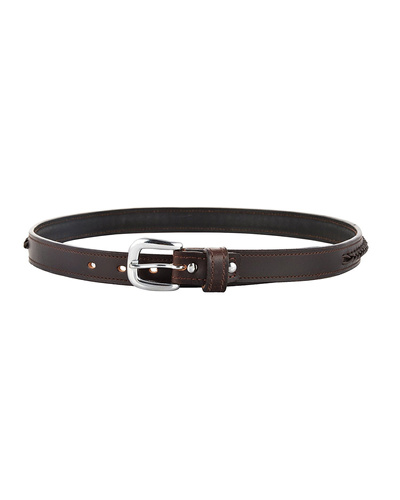 """Leather Belt Brown with Leather Cord Hand Braiding Decoration-30""""-1"""