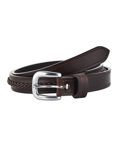 Leather Belt Brown with Leather Cord Hand Braiding Decoration-AMA-B521-Brown-36