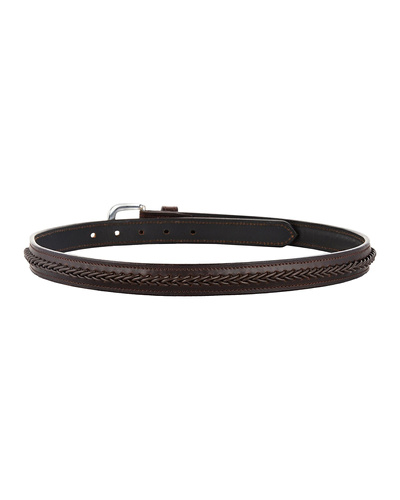 """Leather Belt Brown with Leather Cord Hand Braiding Decoration-42""""-2"""