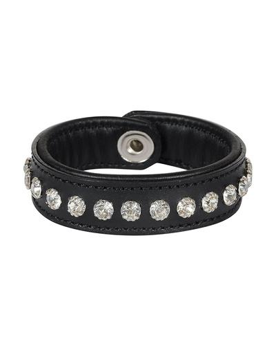 Leather Armbands Black with Crystal Stones Decoration-AMA-WB11