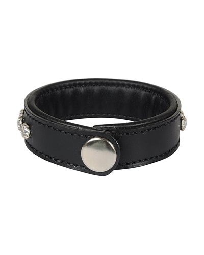 Leather Armbands Black with Crystal Stones Decoration-21CM-2