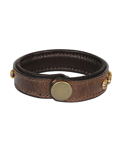 Leather Armbands Brown with Gold Stones Decoration-21CM-2