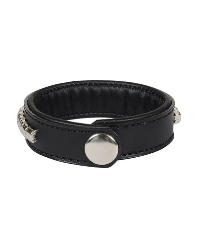 Leather Armbands Black with Silver Conchores Decoration-21CM-2