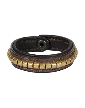Leather Armbands Brown with Gold Conchores Decoration