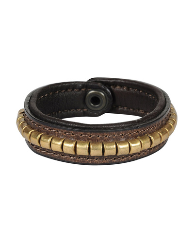 Leather Armbands Brown with Gold Conchores Decoration-AMA-WB14
