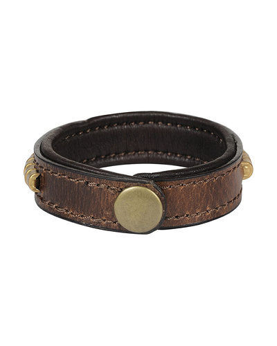 Leather Armbands Brown with Gold Conchores Decoration-21CM-2