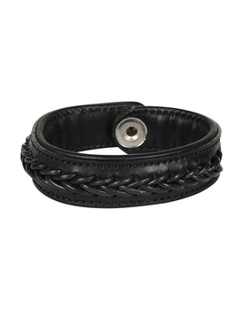 Leather Armbands Black with Black Leather Cord Braiding Decoration