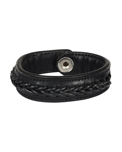 Leather Armbands Black with Black Leather Cord Braiding Decoration-AMA-WB15