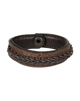Leather Armbands Brown with Brown Leather Cord Braiding Decoration