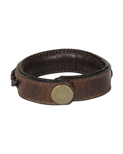 Leather Armbands Brown with Brown Leather Cord Braiding Decoration-21CM-2
