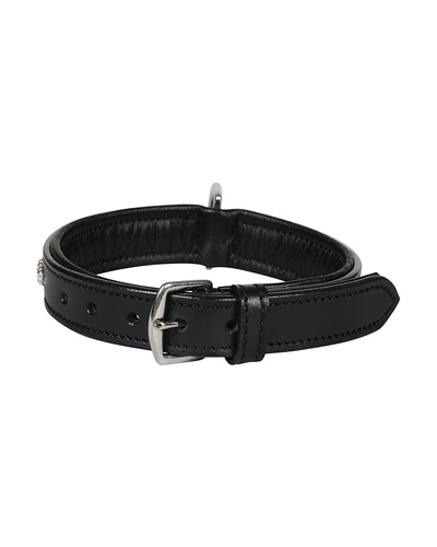 Leather Dog Collar Black with Crystal Stones Decoration-SMALL-2