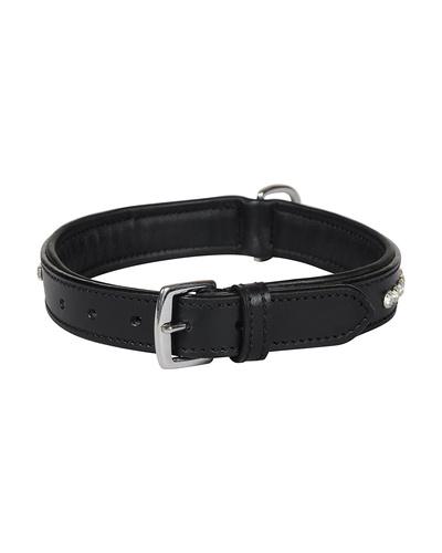 Leather Dog Collar Black with Crystal Stones Decoration-MEDIUM-2