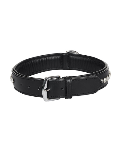 Leather Dog Collar Black with Crystal Stones Decoration-LARGE-2