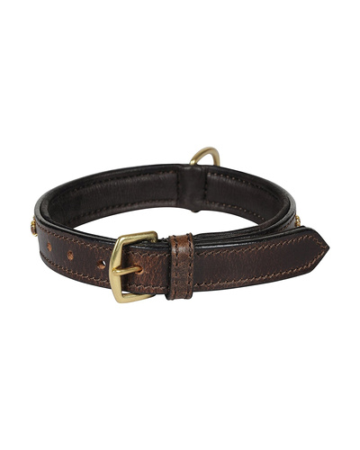 Leather Dog Collar Brown with Gold Stones Decoration-SMALL-2