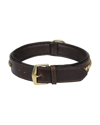 Leather Dog Collar Brown with Gold Stones Decoration-LARGE-2