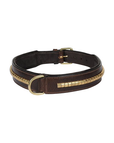 Leather Dog Collar Brown with Gold Conchore Decoration-AMA-DC04-XL