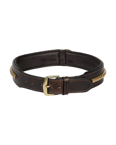Leather Dog Collar Brown with Gold Conchore Decoration-X-LARGE-2