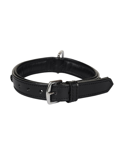 Leather Dog Collar Black With Black Leather Cord Braiding Decoration-SMALL-2
