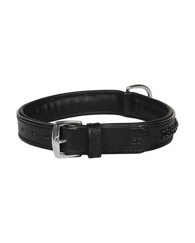 Leather Dog Collar Black With Black Leather Cord Braiding Decoration-MEDIUM-2