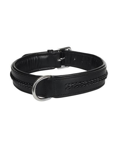 Leather Dog Collar Black With Black Leather Cord Braiding Decoration-AMA-DC05-L