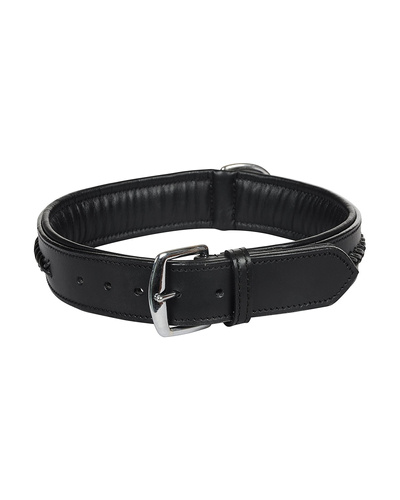 Leather Dog Collar Black With Black Leather Cord Braiding Decoration-LARGE-2