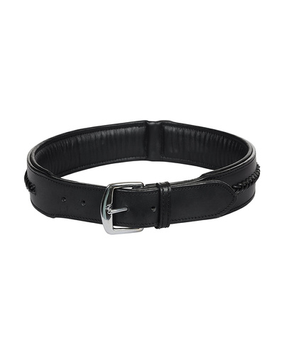 Leather Dog Collar Black With Black Leather Cord Braiding Decoration-X-LARGE-2