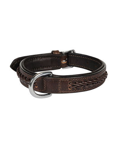 Leather Dog Collar Brown With Brown Leather Cord Braiding Decoration-AMA-DC06-S