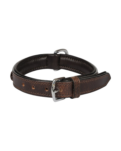 Leather Dog Collar Brown With Brown Leather Cord Braiding Decoration-SMALL-2