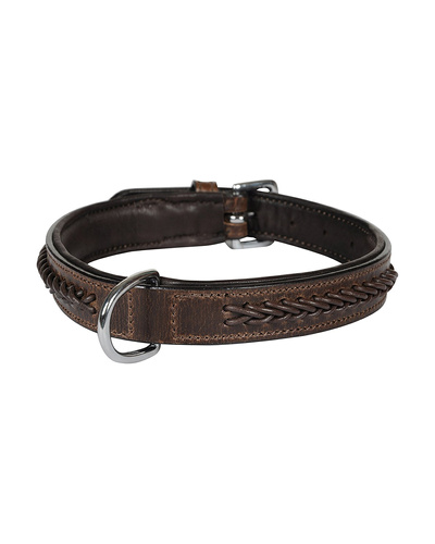 Leather Dog Collar Brown With Brown Leather Cord Braiding Decoration-AMA-DC06-M