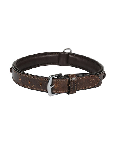 Leather Dog Collar Brown With Brown Leather Cord Braiding Decoration-MEDIUM-2