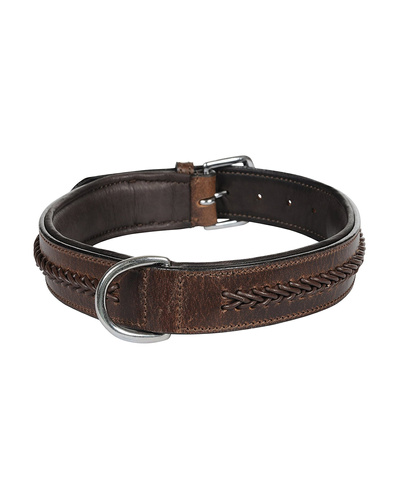 Leather Dog Collar Brown With Brown Leather Cord Braiding Decoration-AMA-DC06-L