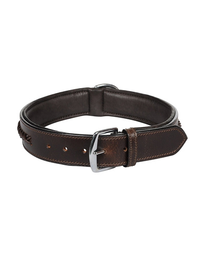Leather Dog Collar Brown With Brown Leather Cord Braiding Decoration-LARGE-2