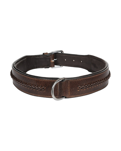 Leather Dog Collar Brown With Brown Leather Cord Braiding Decoration-AMA-DC06-XL