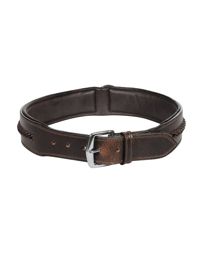 Leather Dog Collar Brown With Brown Leather Cord Braiding Decoration-X-LARGE-2
