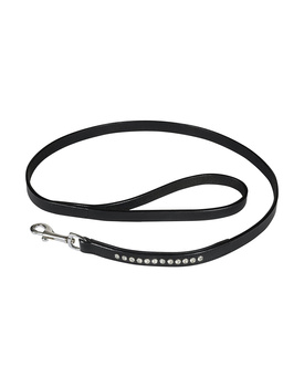 Leather Dog Lead Black  1.2Mtr Crystal Stones Decorated
