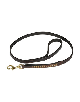 Leather Dog Lead Brown  1.2Mtr Light Colorado Topaz Stones Decorated