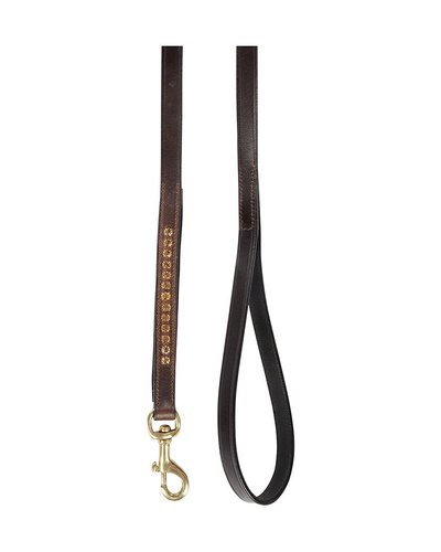Leather Dog Lead Brown  1.2Mtr Light Colorado Topaz Stones Decorated-1.2MTR-1