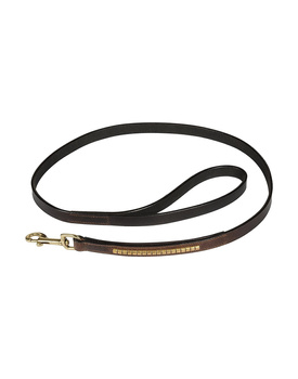 Leather Dog Lead Brown 1.2Mtr Gold Conchores Decorated