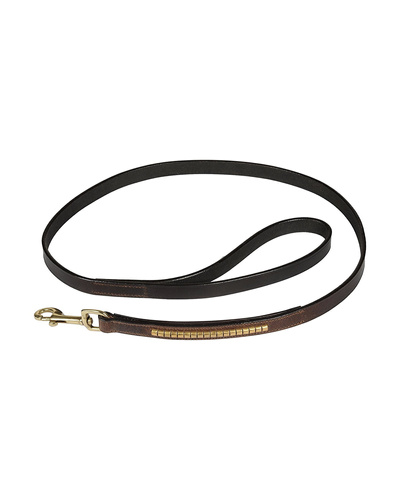 Leather Dog Lead Brown 1.2Mtr Gold Conchores Decorated-AMA-DL24