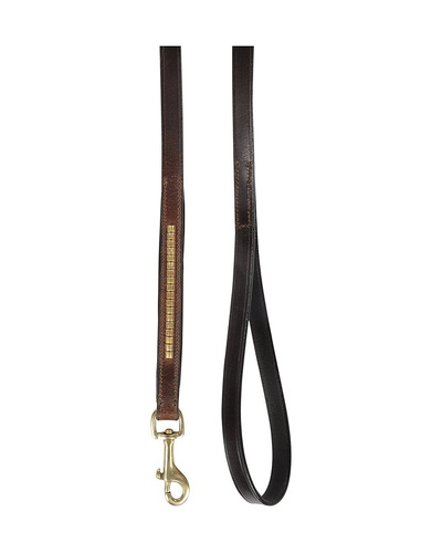Leather Dog Lead Brown 1.2Mtr Gold Conchores Decorated-1.2MTR-1