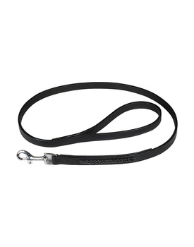 Leather Dog Lead Black 1.2Mtr Black Leather Cord Decorated