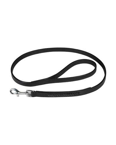 Leather Dog Lead Black 1.2Mtr Black Leather Cord Decorated-AMA-DL25