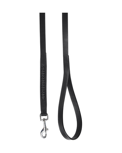 Leather Dog Lead Black 1.2Mtr Black Leather Cord Decorated-1.2MTR-1