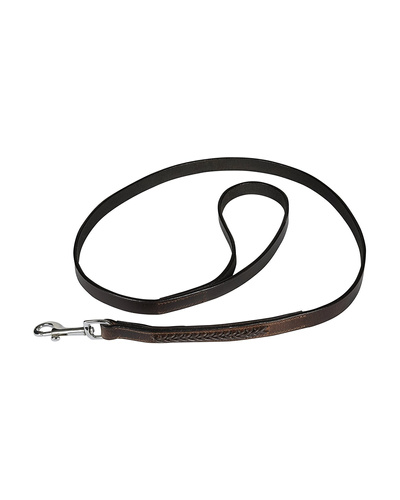 Leather Dog Lead Brwon 1.2Mtr Brown Leather Cord Decorated-AMA-DL26