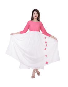 Women Colorblock Flared Kurta  (Pink, White)