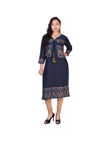 Women's Printed Straight Kurta  (Blue)